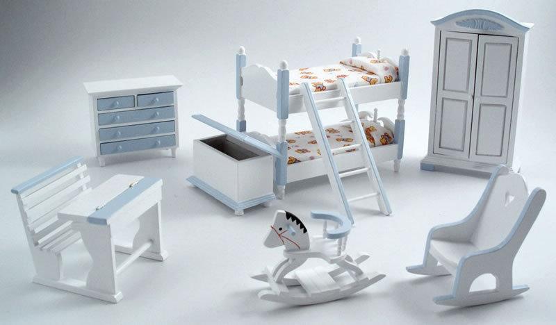 Puppenstuben & -häuser 1:12 Küchenset 7 5-teilig blau für die Puppenstube