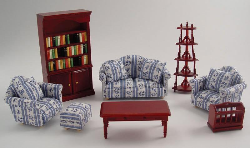 wohnzimmer 8 teile f r ihr puppenhaus im ma stab 1zu12. Black Bedroom Furniture Sets. Home Design Ideas