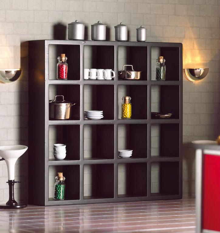 modernes regal schwarz 1zu12 miniwelt puppenhaus. Black Bedroom Furniture Sets. Home Design Ideas
